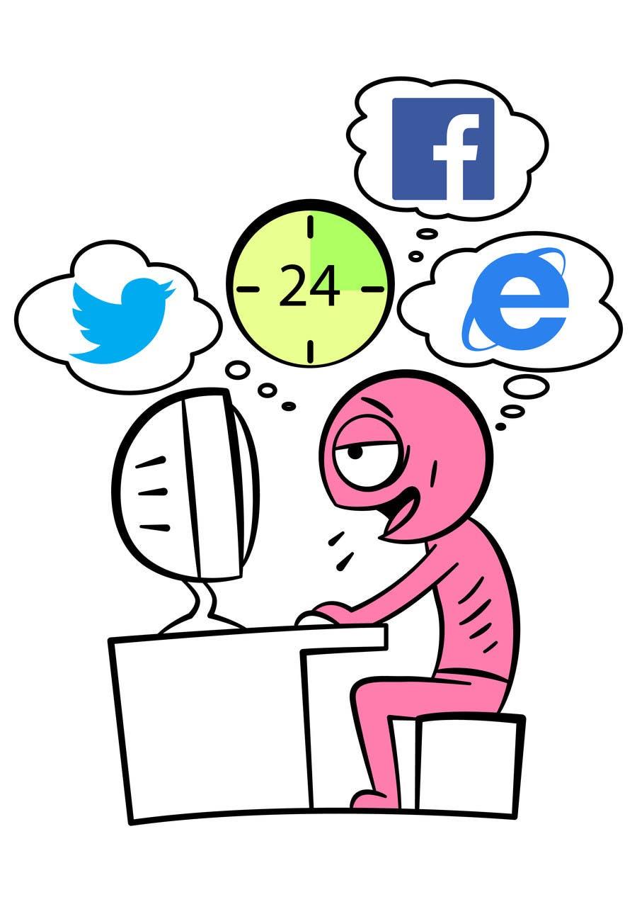 Inscrição nº                                         13                                      do Concurso para                                         Social media addict. Design single-panel illustration or cartoon symbolizing a social media addict (multiple winners possible).