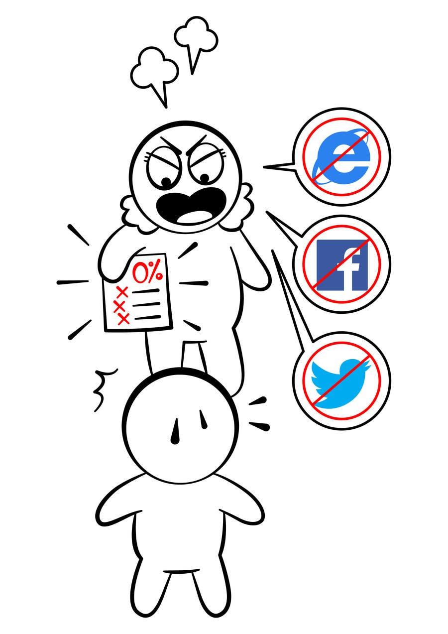 Inscrição nº                                         16                                      do Concurso para                                         Social media addict. Design single-panel illustration or cartoon symbolizing a social media addict (multiple winners possible).