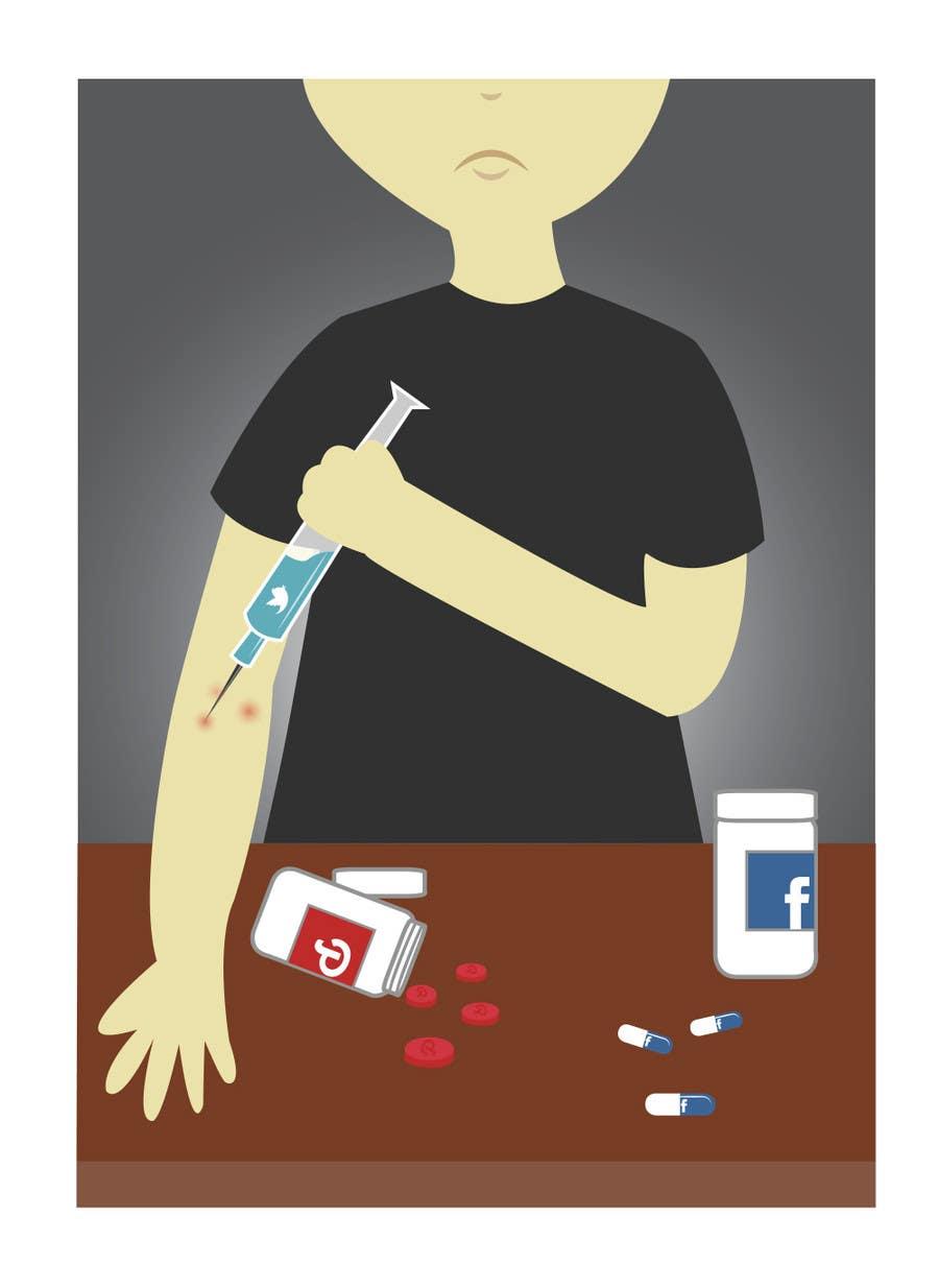 Inscrição nº                                         7                                      do Concurso para                                         Social media addict. Design single-panel illustration or cartoon symbolizing a social media addict (multiple winners possible).