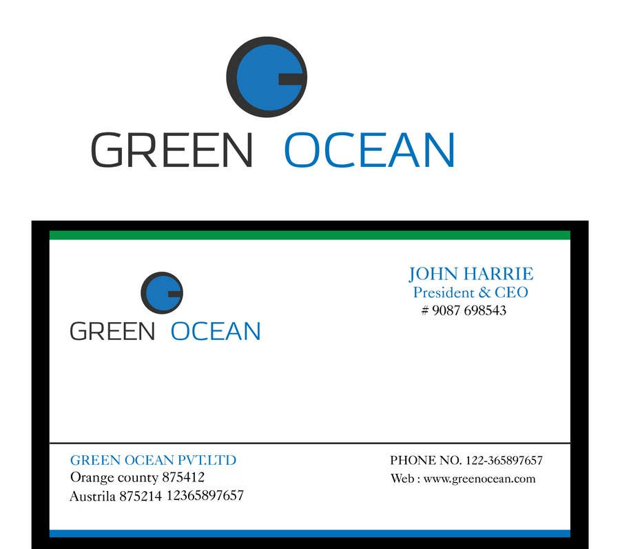 Penyertaan Peraduan #                                        712                                      untuk                                         Logo and Business Card Design for Green Ocean