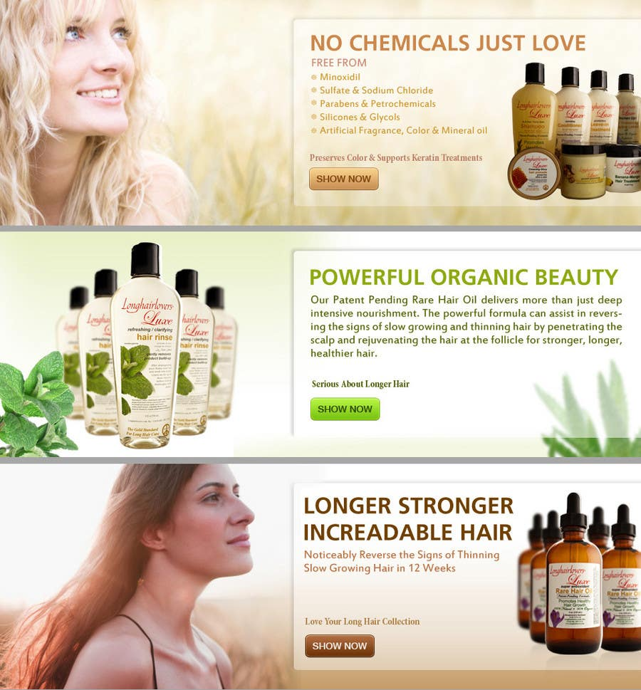 Contest Entry #17 for Banner Ad Design for 3 Organic Hair Care Website