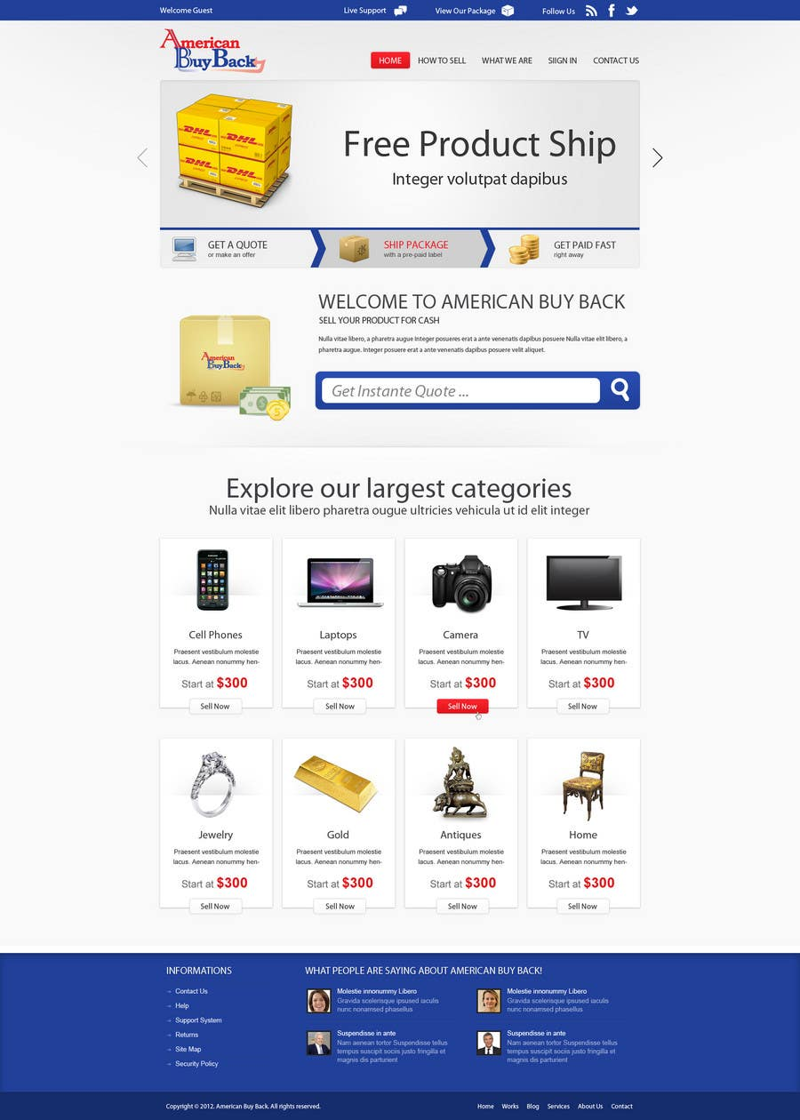 Penyertaan Peraduan #50 untuk Website Design for American Buy Back! Buying Electronics Antiques Gold and valuables Online w/Cash
