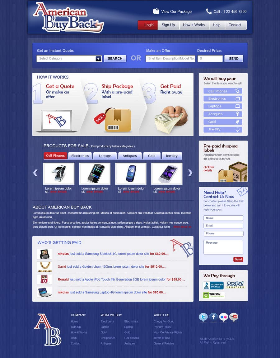 Penyertaan Peraduan #85 untuk Website Design for American Buy Back! Buying Electronics Antiques Gold and valuables Online w/Cash