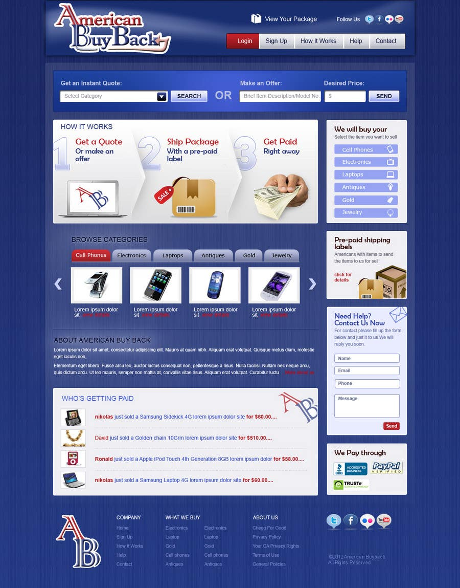Inscrição nº 98 do Concurso para Website Design for American Buy Back! Buying Electronics Antiques Gold and valuables Online w/Cash
