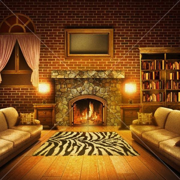 Inscrição nº                                         14                                      do Concurso para                                         Transform a bad hand drawing into a quality graphic-Two Living Rooms (2 styles:Log Cabin and Modern)