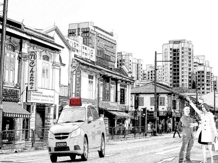 Proposition n°                                        1                                      du concours                                         Illustration simple 2 personnages + un taxi