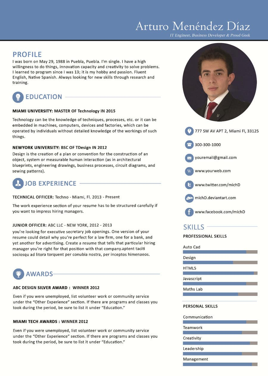 Contest Entry #14 For Design An Original And Stylish CV Format