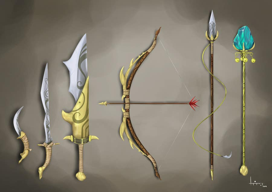 Entry 12 By Karmachela For Weapons Sword Dagger Bow Concept