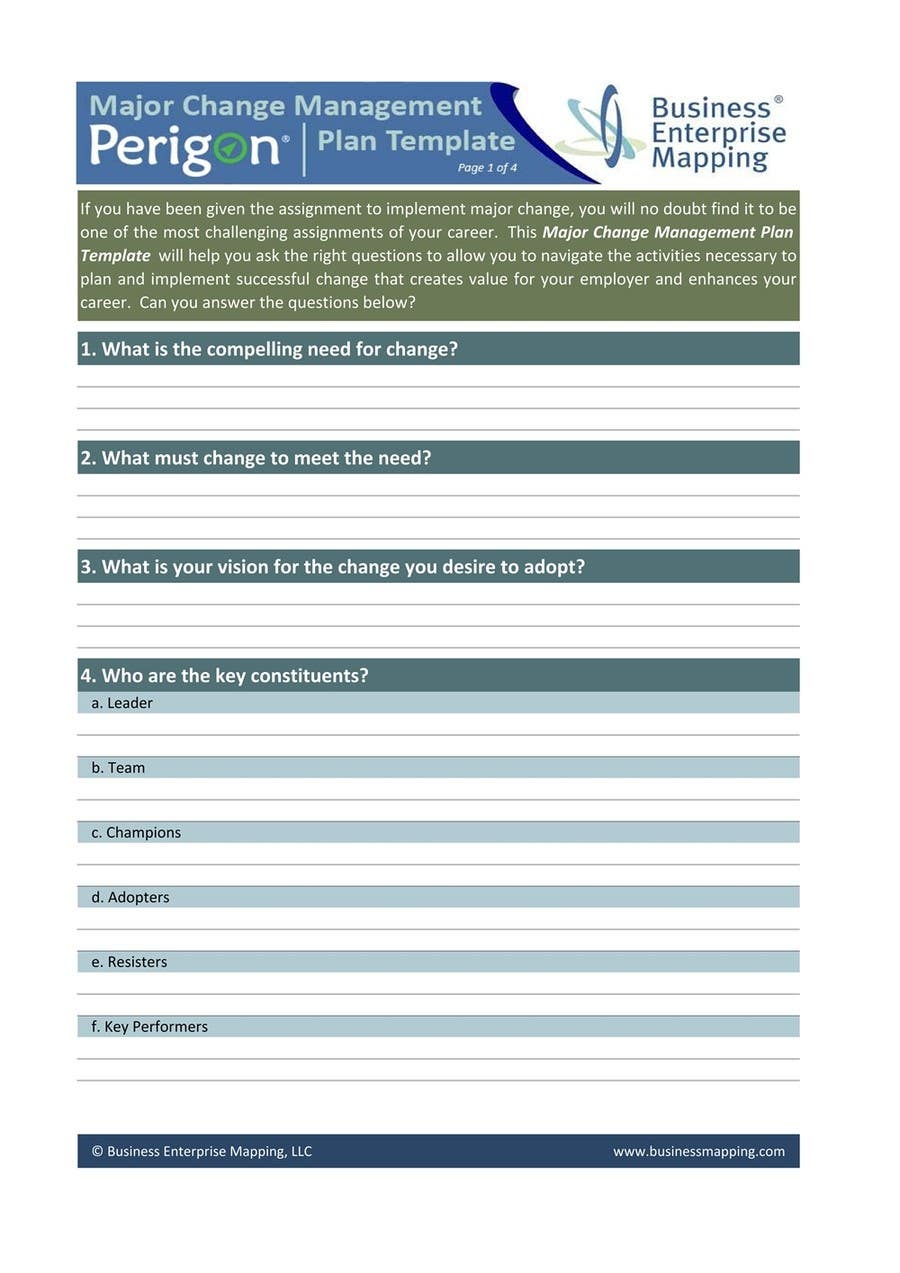 Entry 7 By Adhfree For Change Management Plan Template Freelancer