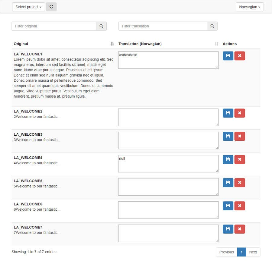 One bootstrap html page in datatable (or similar) for a
