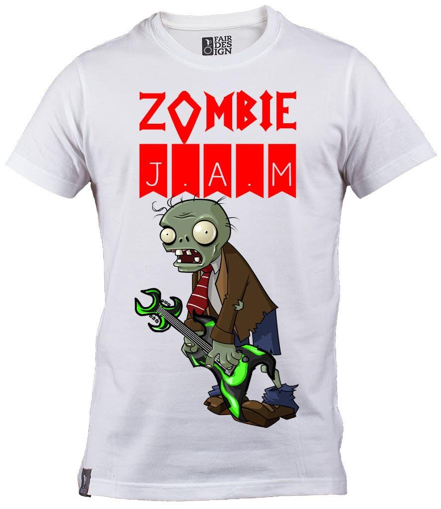 """Penyertaan Peraduan #                                        9                                      untuk                                         Design a T-Shirt for a kids' band called """"Zombie J.A.M."""""""