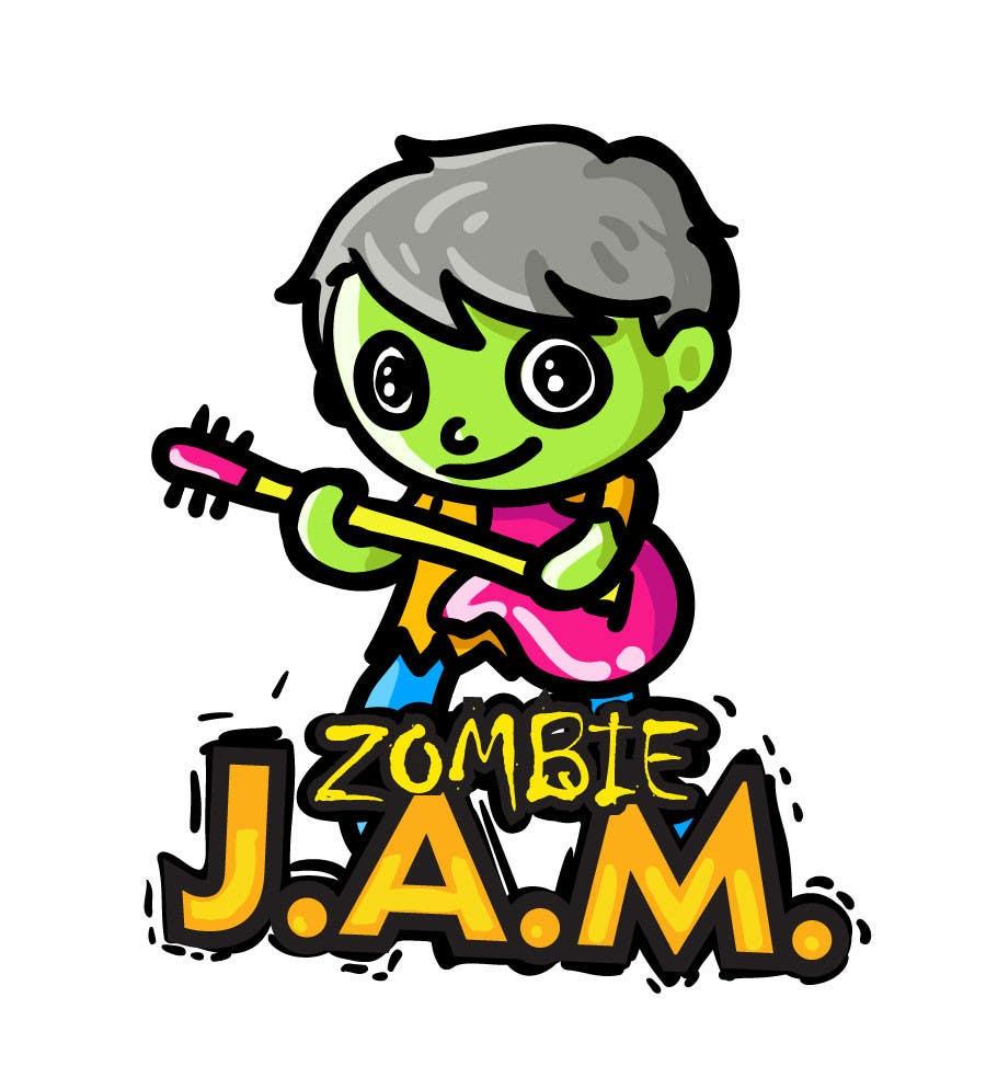 """Penyertaan Peraduan #                                        10                                      untuk                                         Design a T-Shirt for a kids' band called """"Zombie J.A.M."""""""