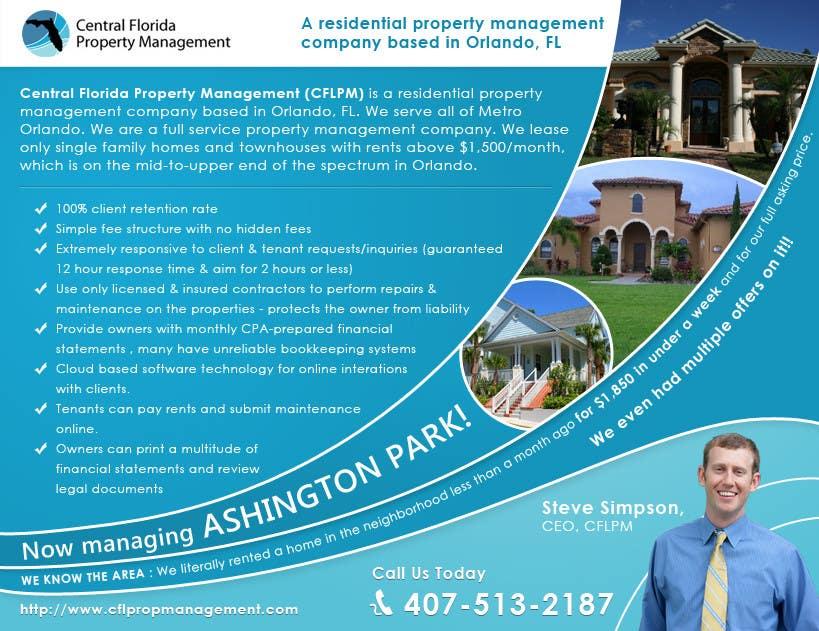 #55 for Ashington Park Flyer Design for Central Florida Property Management by mfbdeip