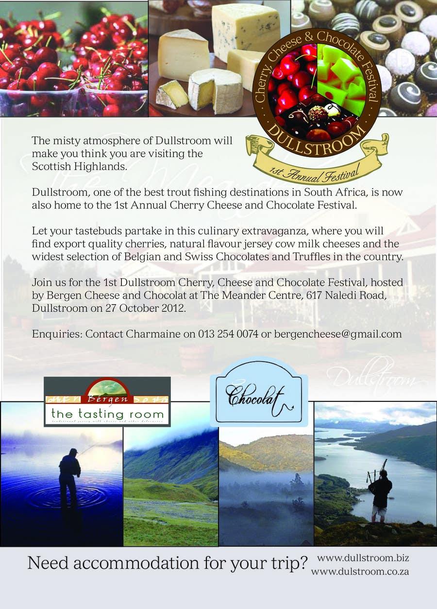 Конкурсная заявка №6 для Flyer & Basic Logo for Dullstroom Cherry Cheese and Chocolate Festival