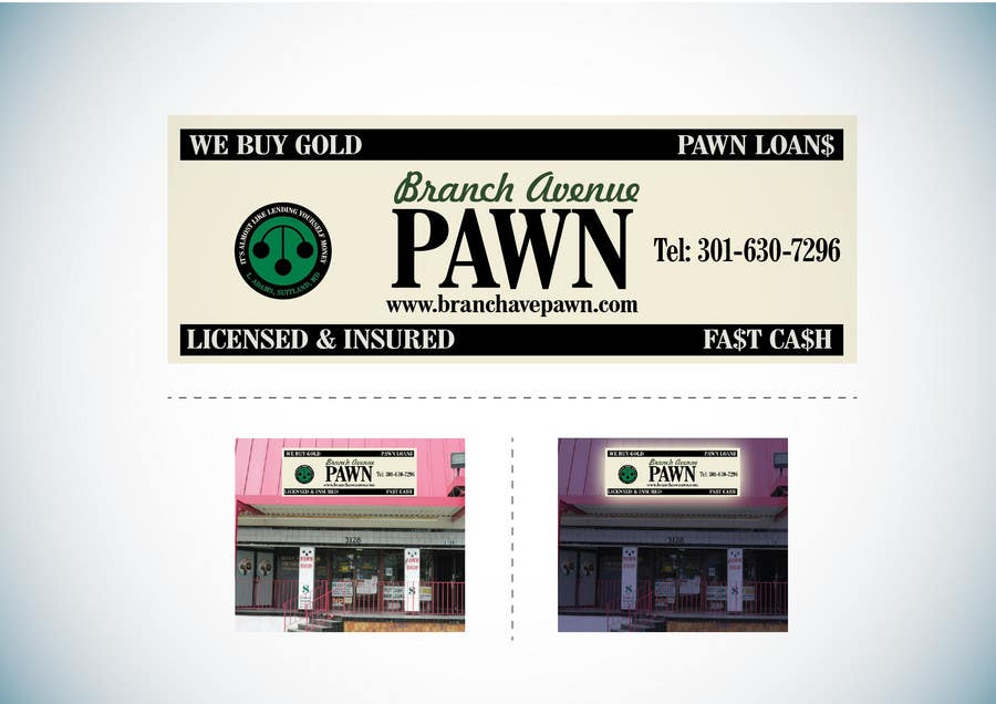 Bài tham dự cuộc thi #                                        41                                      cho                                         Graphic Design for Branch Avenue Pawn Store Front Sign