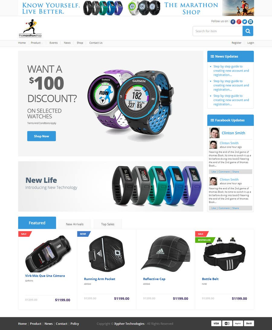 Bài tham dự cuộc thi #                                        9                                      cho                                         Design a Website Mockup for TheMarathonShop