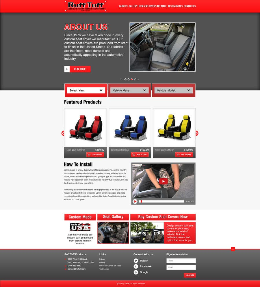 Penyertaan Peraduan #                                        3                                      untuk                                         Design a Website Mockup for an auto seat cover manufacturer