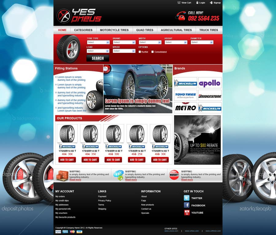 #28 for Website Design for Tyres by tania06