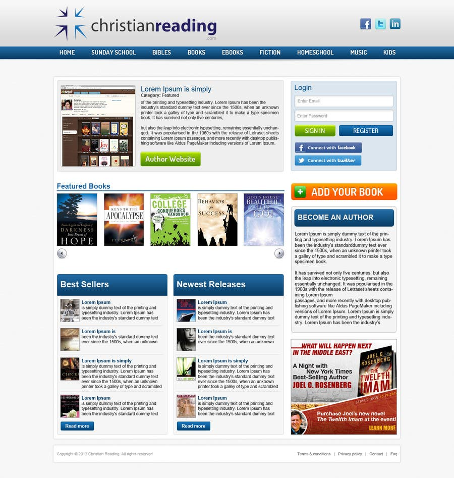 Contest Entry #                                        17                                      for                                         Christian Reading Website Home Page Design