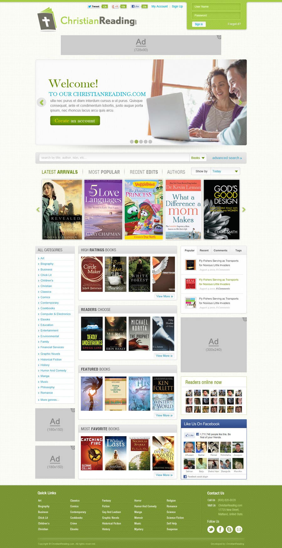 Contest Entry #                                        36                                      for                                         Christian Reading Website Home Page Design