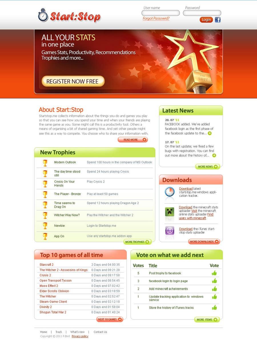 Proposta in Concorso #                                        34                                      per                                         Website Design for startstop.me
