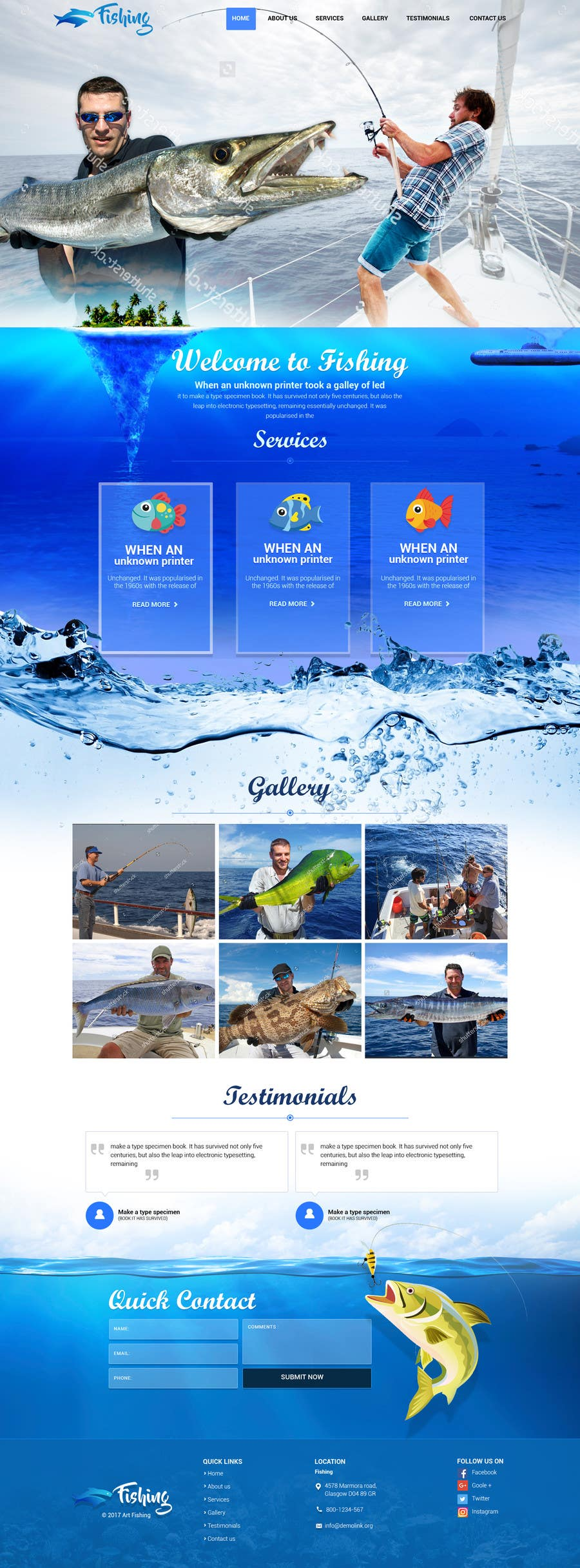 Contest Entry #8 for Design a Website Template with a Fishing Theme