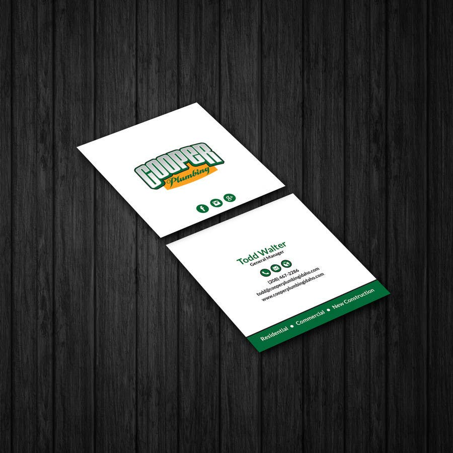 Entry 11 by patitbiswas for cooper plumbing business cards and contest entry 11 for cooper plumbing business cards and future marketing design work colourmoves
