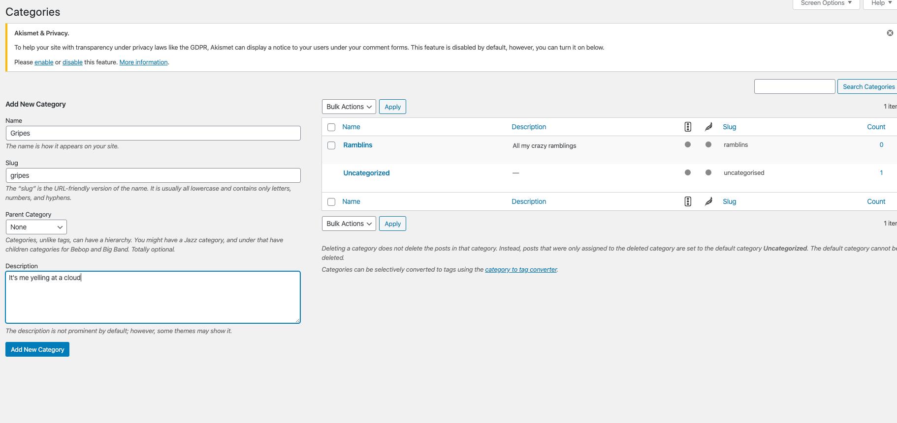 creating wordpress categories