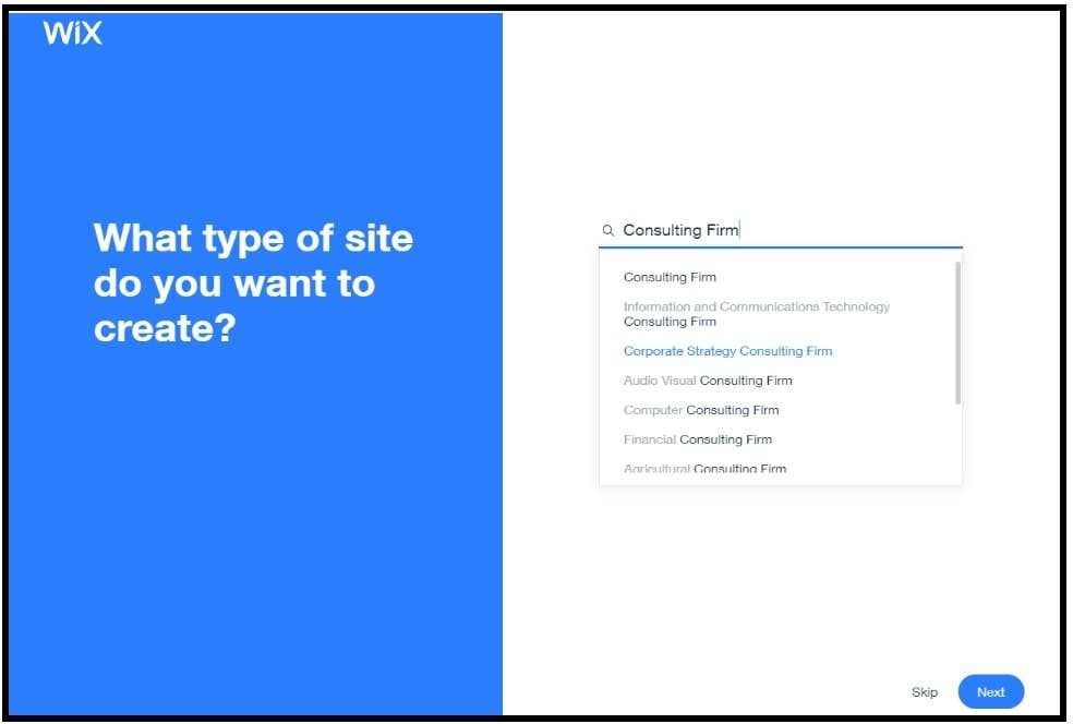 wix adi choosing site type