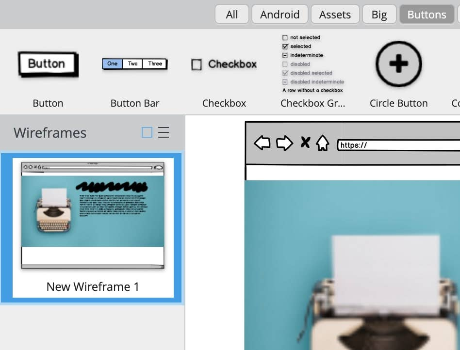 balsamiq add button