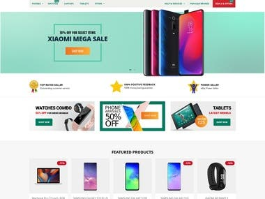 This is one of our client based on United Kingdom selling Smart phone and laptop gadgets on Shopify store  We have worked on Layouot format , PSD, Development and responsive Design on this store  Here you can see Store Live URL : https://mmtelecom.co.uk/