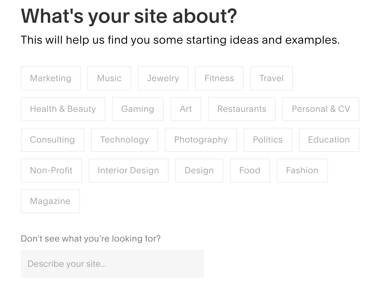 squarespace whats your site about