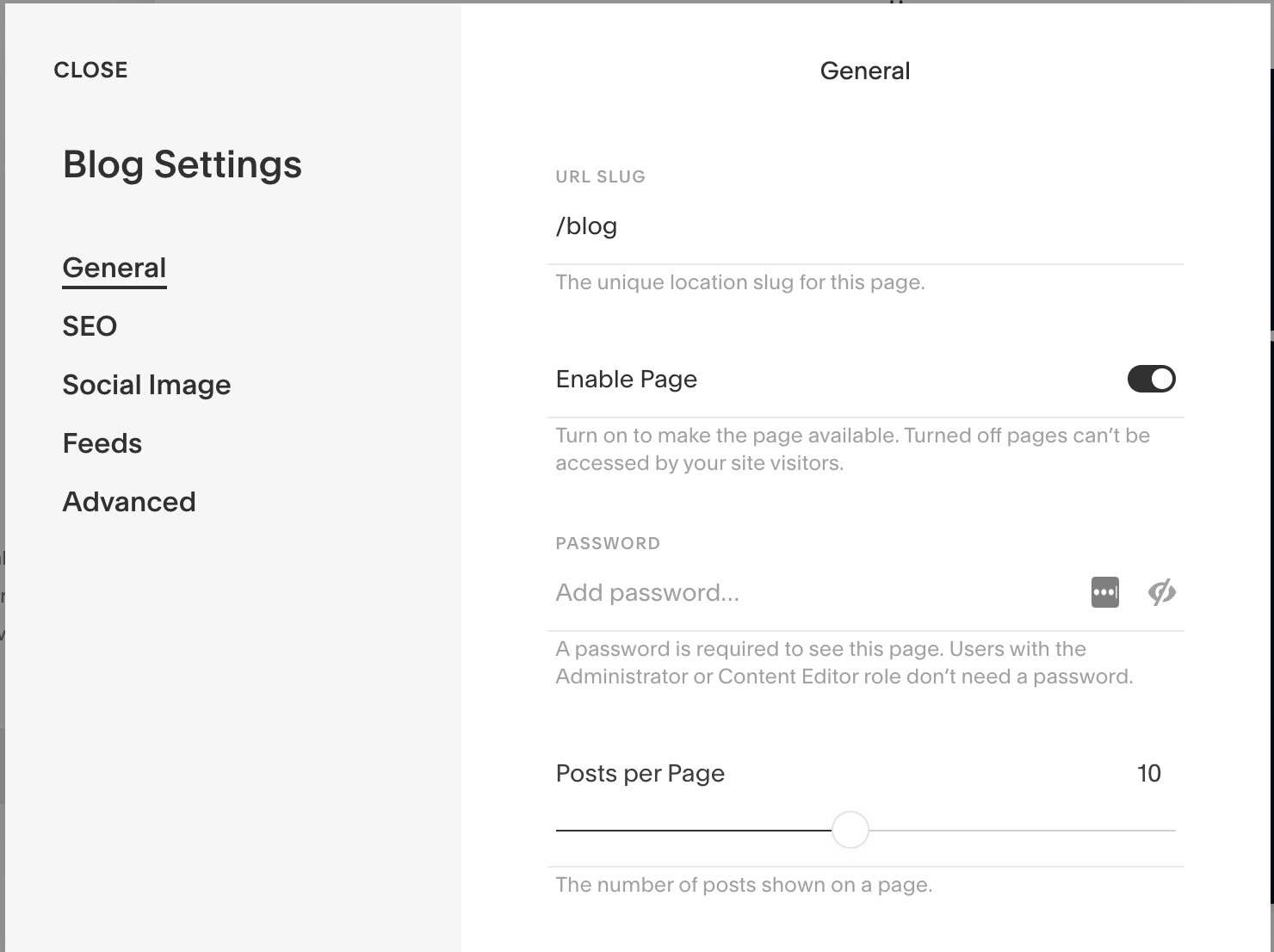 squarespace change page settings