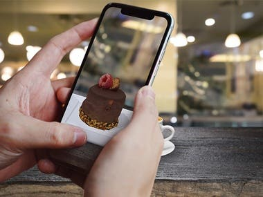 VIDEO: https://youtu.be/axxX0GCosm4  MORE: https://robertsolero.com/ar-desserts-gourmet.html  Augmented Reality virtual showcase for the Food & Beverage industry. Case study project that allows users to preview desserts with Augmented Reality. 9 Photorealistic 3D models integration with lightning. AR implementation with a markerless approach. User engagement with Ingredient information and Photo sharing.