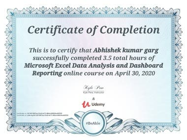 Undergone specialized training for Data analysis and Dashboard reporting, so that can deliver better results to the employers.