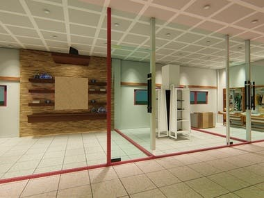 shop interior design for a leather company and textile company