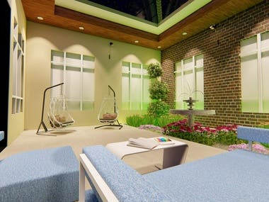 open space in a house use as a family living or court space