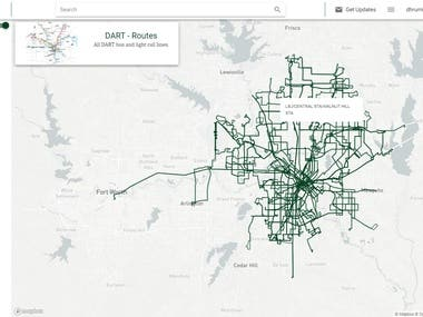 Dallas city DART service routes mapping over the web with leaflet map
