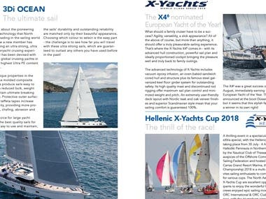 Quarterly sales newsletter for yachting broker and agency.