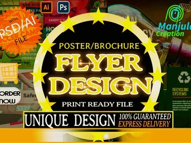 I will create you awesome flyer.I am very good in photoshop and illustrator.See this.I will guarantee you your content will be 200% with the new contents.  SEE MY OTHER CONTENTS.