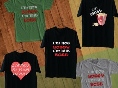 I will design T-shirt in any with text, logo, typography or any custom design and provide you free mock up with colors.