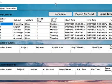 In this fascinating project with Shehroz, I developed an activity scheduling software capable of assigning resources to the academic work space. It also generates the excel timetable as illustrated in the attachments. The project was done using .net C# desktop library.