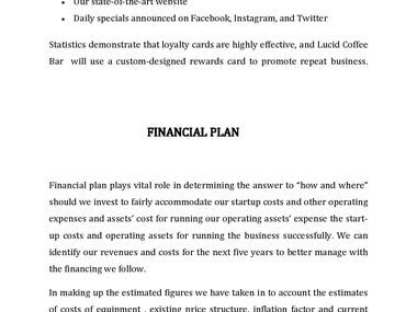 COFFEE SHOP BUSINESS PLAN AND FINANCIAL MODEL