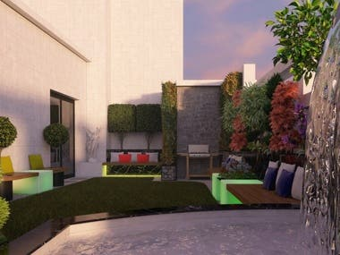 A roof garden I designed, Modeled  and rendered Last year.