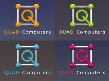3D Logo Design Pack for Quad Computers Shop. Includes 4 different versions as per client's request.  The logos are made in 3D and denotes the perfection of geometry and technology.