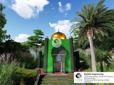 3D Model design, render and Walkthrough video created for the Iconic Hill mosque of Zahira College, Gampola, Kandy, Sri Lanka.