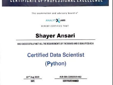 Trained and certified as a Data Scientist using Machine Learning techniques with Python.