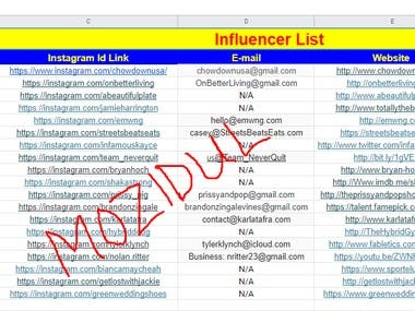 My Services of This Project:   >>Niche based Influencer research and collection. >>Grow up your business and product