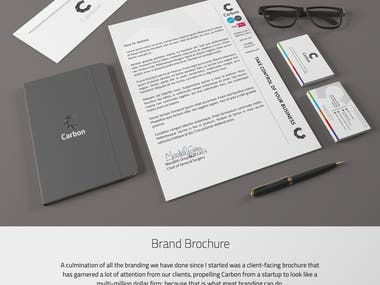 Branding, graphic design, and multiple content writing projects with Carbon Group accumulated over 3 years.