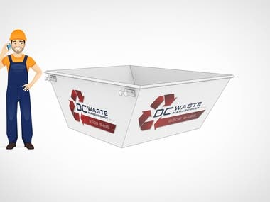 Created 3d Illustrations of different sizes of dumpsters with the company logo